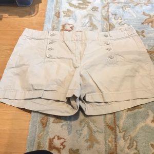 Ann Taylor loft tan kakhi shorts. Button up